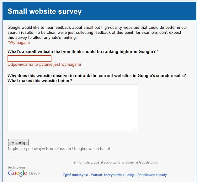 Masz małą witrynę i zasługujesz na wyższe pozycje? Zgłoś ją do Google!