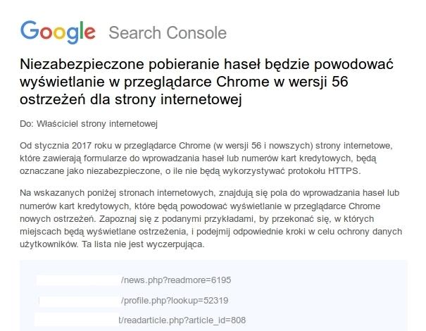 Niezabezpieczone pobieranie haseł będzie powodować wyświetlanie w przeglądarce Chrome w wersji 56 ostrzeżeń dla strony internetowej