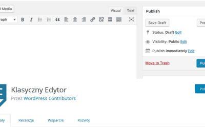 Jak wrócić do starego edytora w WordPress?
